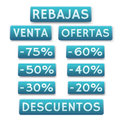 Sale icons in spanish vector decorative of and discounts Stock Photo