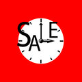 Sale inscription with clocks. Seasonal discount icon or banner template. Black and red sale label