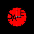 Sale inscription with red clocks. Sales event square illustration.