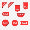 Sale Label collection set. Sale tags. Discount red ribbons, banners and icons. Shopping Tags. Sale icons. Red isolated on white