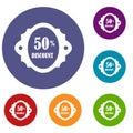 Sale label 50 percent off discount icons set
