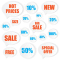 Sale label stickers on white background Royalty Free Stock Photo