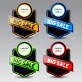 Sale label vector set of four paper sticker illustration Royalty Free Stock Photography