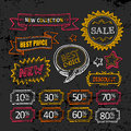 Sale labels hand drawn vector discount set style Stock Photography
