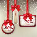Sale labels with red gift bows set of and discount paper and ribbons Royalty Free Stock Photo