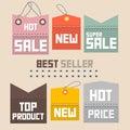 Sale labels tags set vector colorful retro paper Stock Image