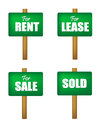 Sale lease rent and sold sign boards for for for notice in green isolated on white background Stock Photography