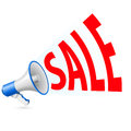 Sale megaphone illustration of and promotion related word coming out from Stock Image