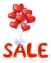 Sale message with heart balloons Stock Image