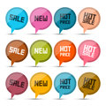 Sale new hot price circle vector labels tags set isolated on white background Stock Photos