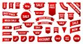 Sale and New Label collection set. Sale tags 30, 50, 70. Discount red ribbons, banners and icons. Special offer. Shopping Tags.