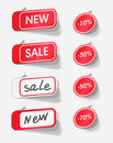 Sale and new red labels Royalty Free Stock Photo