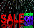 Sale Now On And Fireworks Showing Discounts Stock Images