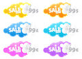 Sale now peeling stickers with currency label Stock Images