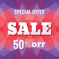 Sale 50% off - concept banner vector illustration on abstract geometric polygonal background. Advertising promotion layout.