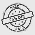 Sale 75% off rubber stamp isolated on white.