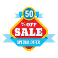 Sale 50% off - vector concept illustration in flat style. Abstract advertising promotion banners on white background.