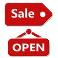 Sale and Open signs Royalty Free Stock Photo