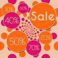 Sale peach pink square a graphical image with different percentage and text Stock Images