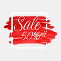 Sale, 50 percent off lettering on watercolor stroke with white frame. Red grunge abstract background brush paint texture Royalty Free Stock Photo