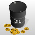 Sale of petroleum products barrel oil and money illustration on white background Royalty Free Stock Photos