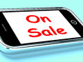 On Sale Phone Shows Promotional Savings Stock Photos