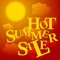 Sale poster hot summer red orange and yellow colored with clouds and text vector illustration Royalty Free Stock Photos