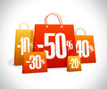 Sale poster, many paper shopping bags with percents Royalty Free Stock Photo