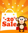 Sale poster with monkey vector Stock Photo