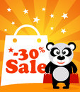 Sale poster panda monkey with vector Stock Photography