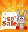 Sale poster with rabbit vector Royalty Free Stock Images