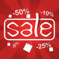 Sale poster red colored with with text and discounts Stock Photo