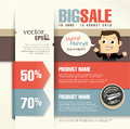 Sale promotion design template with a cartoon character businessman Stock Photo