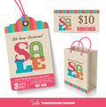 Sale promotion templates tag paper bag voucher design Royalty Free Stock Photos