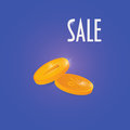 Sale promotion vector illustration: two gold coins.