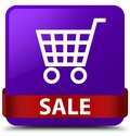 Sale purple square button red ribbon in middle Royalty Free Stock Photo