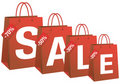 Sale with red shopping bags,  Stock Image