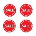 Sale red stamps, label, badges or stickers. Marketing labels set. Vector set.