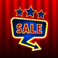 Sale retro banners on the red curtain background.