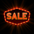Sale retro light frame. Vector illustration Royalty Free Stock Photo