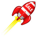 Sale rocket for e-commerce materials Stock Photos