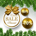 Sale round christmas balls golden labels over starry background with fir branches vector illustration Stock Photography