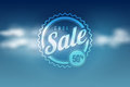 Sale seal on blue sky cloudly vector illustration Stock Photography