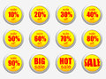 Sale set of percent complete hot yellow stickers over a white background big red stickers with various Royalty Free Stock Photography