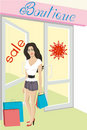 Sale shop. Beautiful woman shopping with bags Stock Photography