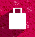 SALE shopping bag with copy space and long shadow Stock Photos