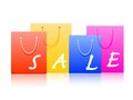 Sale shopping bags with a label Stock Photography