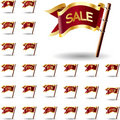 Sale and shopping icons on flags Royalty Free Stock Photos