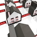 For sale sign on houses shows selling property Royalty Free Stock Photo