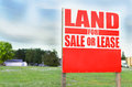 For sale sign outside property and land sale or lease with information signalling in the image is Stock Images